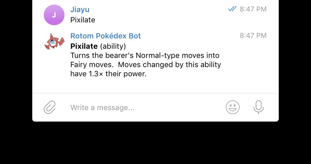 Rotom Pokédex bot - Jiayu's Blog